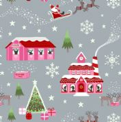 Lewis & Irene - Christmas Glow - 6700 -  North Pole Scene, Pink on Grey - C47.1 - Cotton Fabric